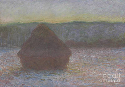 Stack Of Wheat, Thaw, Sunset Art Print by Claude Monet