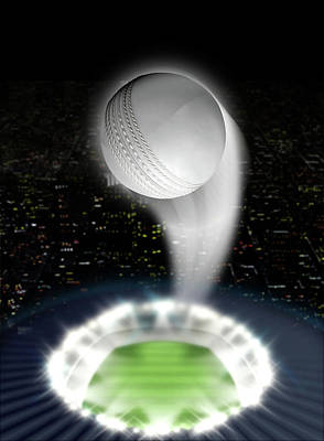 Cricket Digital Art - Stadium Night With Ball Swoosh by Allan Swart