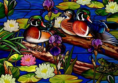 Mixed Media - Stained Glass Wood Ducks by Anthony Seeker