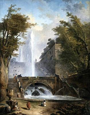 Villa Painting - Stair And Fountain In The Park Of A Roman Villa by Hubert Robert