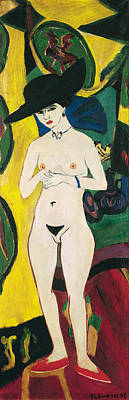 Kirchner Painting - Standing Nude With Hat by Ernst Ludwig Kirchner