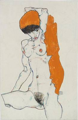 Standing Nude With Orange Drapery Original by Egon Schiele