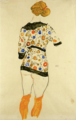 Lady Painting - Standing Woman In A Patterned Blouse by Egon Schiele