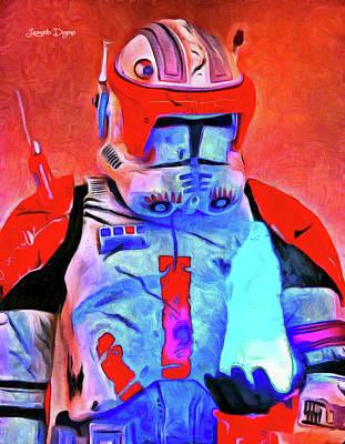 Storm Trooper Painting - Star Commander Cody Order 66 - Van Gogh Style by Leonardo Digenio