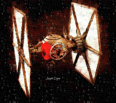 Parked Painting - Star Wars First Order Tie Fighter - Wax Style by Leonardo Digenio