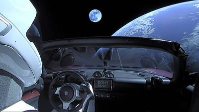 Painting - Starman In Tesla Roadster With Planet Earth Traveling In The Space by Celestial Images