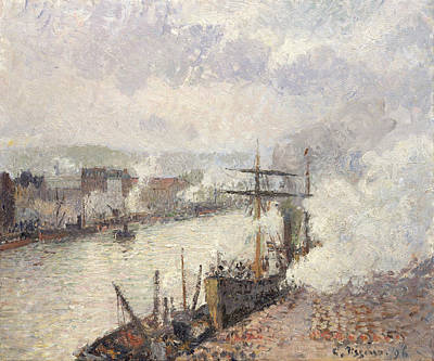 Steamboats In The Port Of Rouen Print by Camille Pissarro