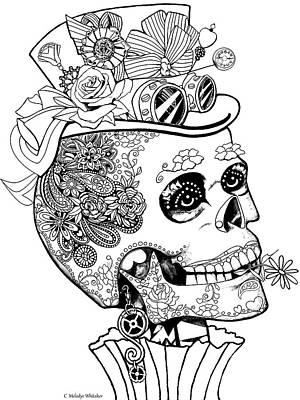 Drawing - Steampunk Sugar Skull by Melodye Whitaker