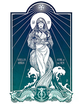 Saint Mary Digital Art - Stella Maris by Lawrence Klimecki