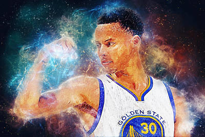 Digital Art - Stephen Curry by Taylan Apukovska
