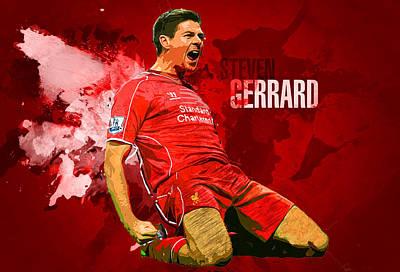 Soccer Digital Art - Steven Gerrard by Semih Yurdabak