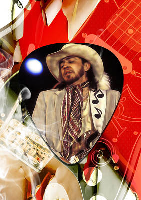Mixed Media - Stevie Ray Vaughan Art by Marvin Blaine