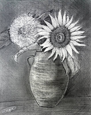 Still Life Drawings - Still Life - Clay Vase with Two Sunflowers by Jose A Gonzalez Jr