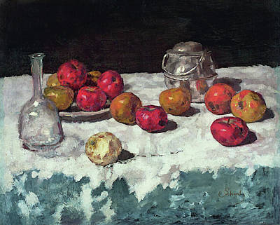 Painting - Still Life With Apples by Carl Schuch