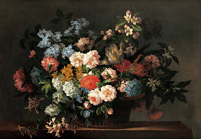 Painting - Still Life With Basket Of Flowers by Jean-Baptiste Monnoyer