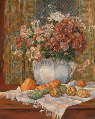 Pear Painting - Still Life With Flowers And Prickly Pears by Pierre-Auguste Renoir