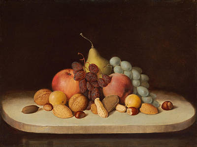 Still Life With Fruit And Nuts Art Print by Robert Seldon Duncanson