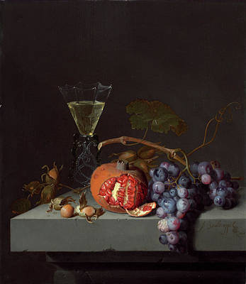 Glass Of Wine Painting - Still Life With Fruit by Jacob van Walscapelle