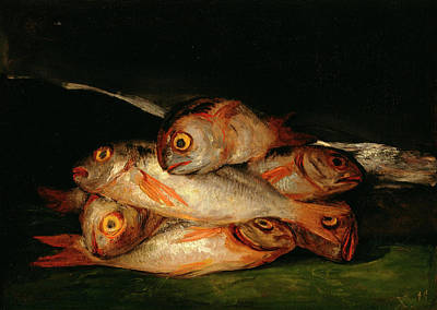 Romanticism Painting - Still Life With Golden Bream by Francisco Goya