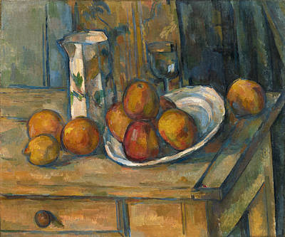 Painting - Still Life With Milk Jug And Fruit by Paul Cezanne