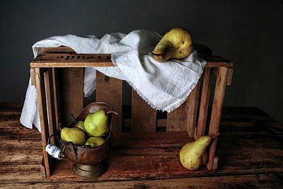 Wood Box Photograph - Still-life With Pears by Nailia Schwarz