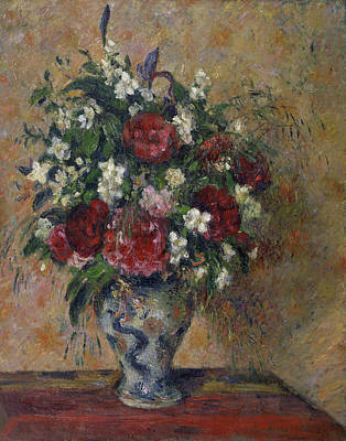 Bouquet Painting - Still Life With Peonies And Mock Orange by Camille Pissarro