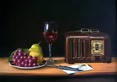 Still Life With Radio Wine And Fruit Original by RB McGrath