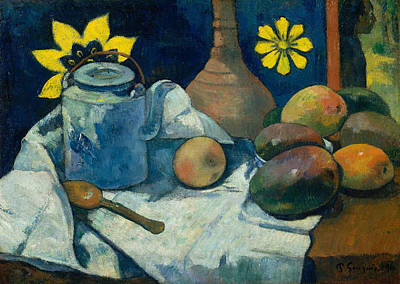 Teapot Painting - Still Life With Teapot And Fruit by Paul Gauguin