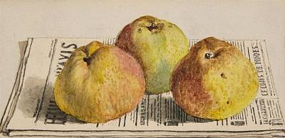 Still Life With Green Apples Painting - Still Life With Three Apples And A Newspaper by Albert Anker