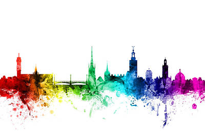 Rainbow Digital Art - Stockholm Sweden Skyline by Michael Tompsett