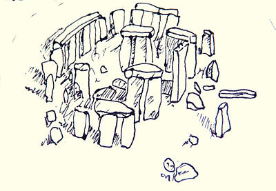 Tourist Attraction Drawing - Stonehenge by Jolly Van der Velden