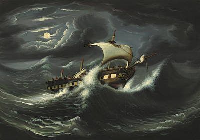 Painting - Storm Tossed Frigate by Thomas Chambers