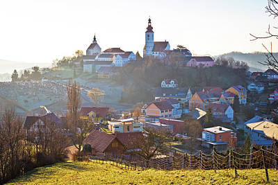 Photograph - Straden Village In Fog Church On The Hill by Brch Photography