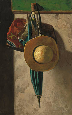 Interior Still Life Painting - Straw Hat Bag And Umbrella by John Frederick Peto