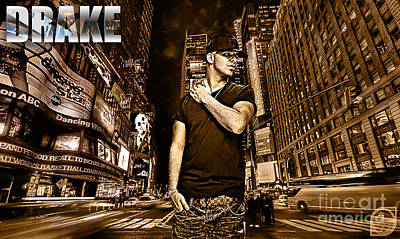 Rapper Digital Art - Street Phenomenon Drake by The DigArtisT
