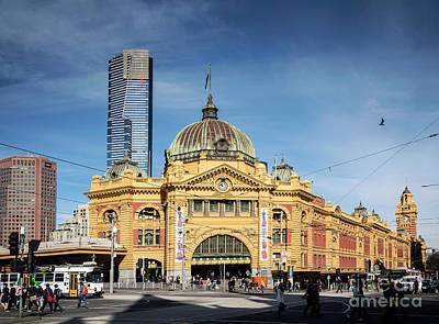 Photograph - Street Scene Outside Flinders Street Station In Central Melbourn by Jacek Malipan