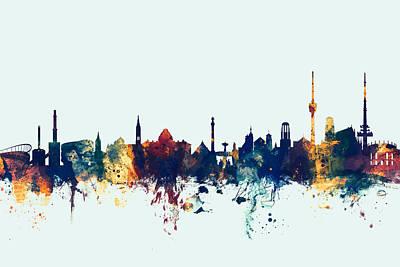 Germany Digital Art - Stuttgart Germany Skyline by Michael Tompsett