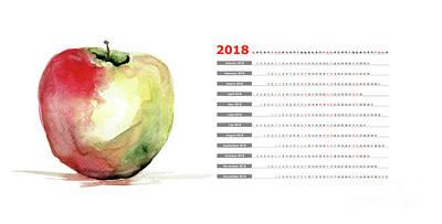 Painting - Stylized Watercolor Apple Illustration by Regina Jershova