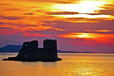 Photograph - Sukosan Old Ruin On The Sea Sunset View by Brch Photography