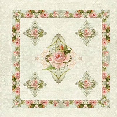 Bloom Art Mixed Media - Summer At The Cottage - Vintage Style Damask Roses by Audrey Jeanne Roberts