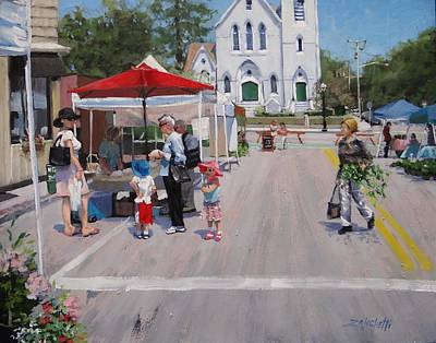 Umbrella Painting - Summer In Hingham Three by Laura Lee Zanghetti