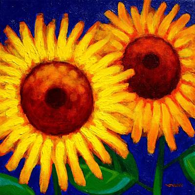 Sunflower Duet  Art Print by John  Nolan