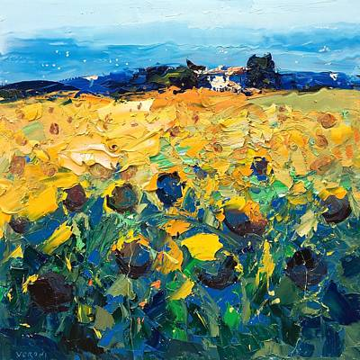 Oil Painting - Sunflowers by Agostino Veroni