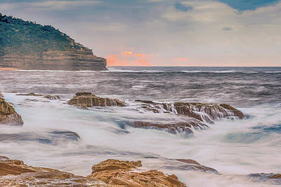 Sunrise Seascape And Headland Art Print