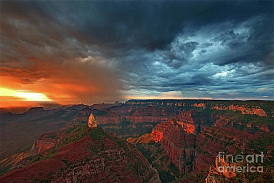 Photograph - Sunrise Storm North Rim Grand Canyon Arizona by Dave Welling