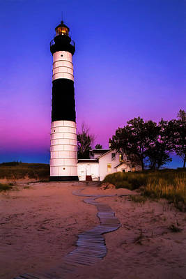 Photograph - Sunset At Big Sable Light by Susan Rissi Tregoning
