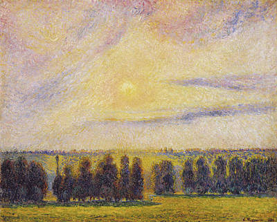 Terrain Painting - Sunset At Eragny by Camille Pissarro