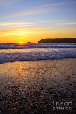 Sunset At Polzeath Art Print by Amanda Elwell