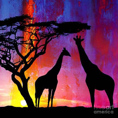 Desert Sun Painting - Sunset Giraffe  by Gull G