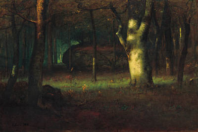 Inness Painting - Sunset In The Woods by George Inness